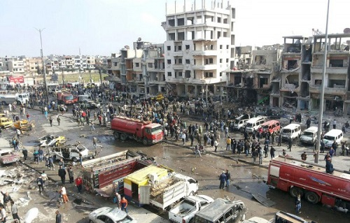 Nine killed in twin bombings in Syria