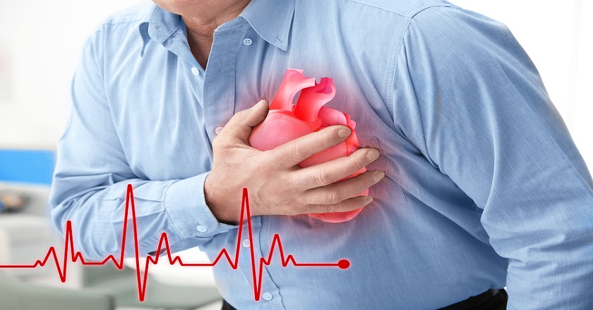 Heart attack concept. Senior man suffering from chest pain, clos